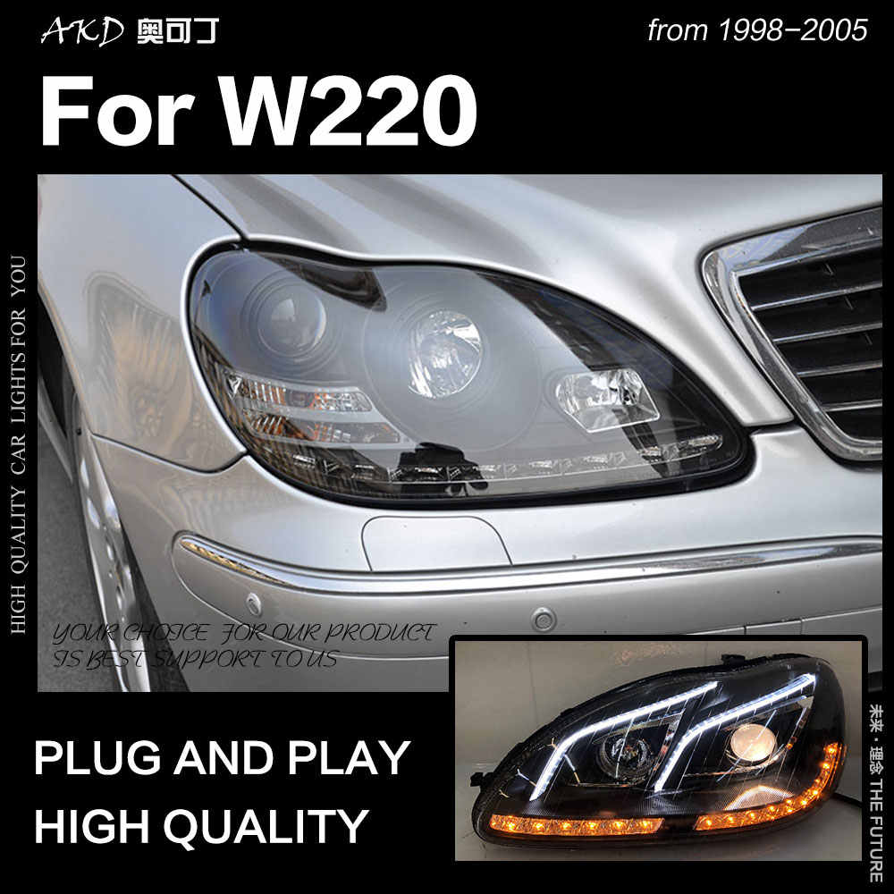 AKD Car Styling Head Lamp for BENZ W220 LED Headlight 1999-2005 S320 S350 LED DRL Dynamic Signal Hid Bi Xenon Auto Accessories