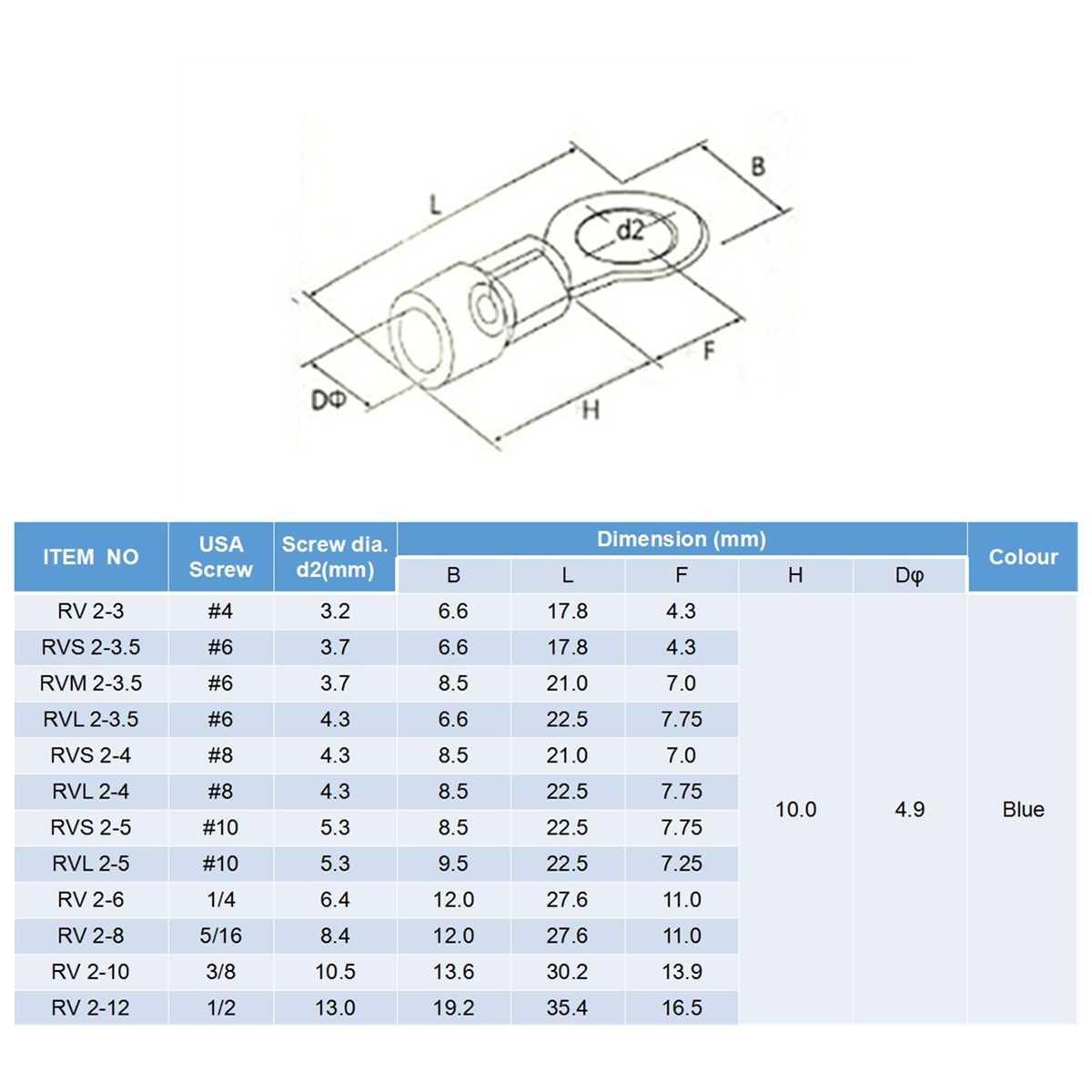 sourcing map 50pcs RV2-6 Terminales de Anillo Aislados de conectores de crimpado de cables el/éctricos