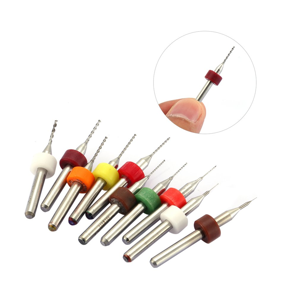 Engraving Drill 10pcs/set Hard Alloy Small Drill Bit 0.1mm-1.0mm Circuit Board PCB Drill Bit Imported Fixed-shank Drill