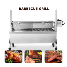 ITOP Commercial Automatic BBQ Grill Manual Spinning Charcoal Kebab Bake Grill Stove Trolley Lamp Rotisserie Spit Roaster Grill free shipping stainless steel pig lamb goat charcoal bbq grill roaster rotisserie spit 110v 220v electric rotated motor