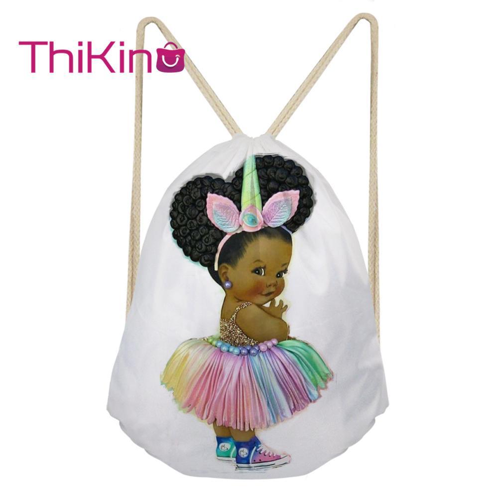 Thikin Cute Afro Baby Girl Casual Sack Drawstring Bag Girls Travel Backpack Toddler Softback Lady Beach Mochila DrawString Bag