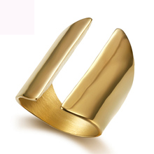 Luxury gold color plated finger ring jewelry titanium steel rings fashion casting for women free shipping