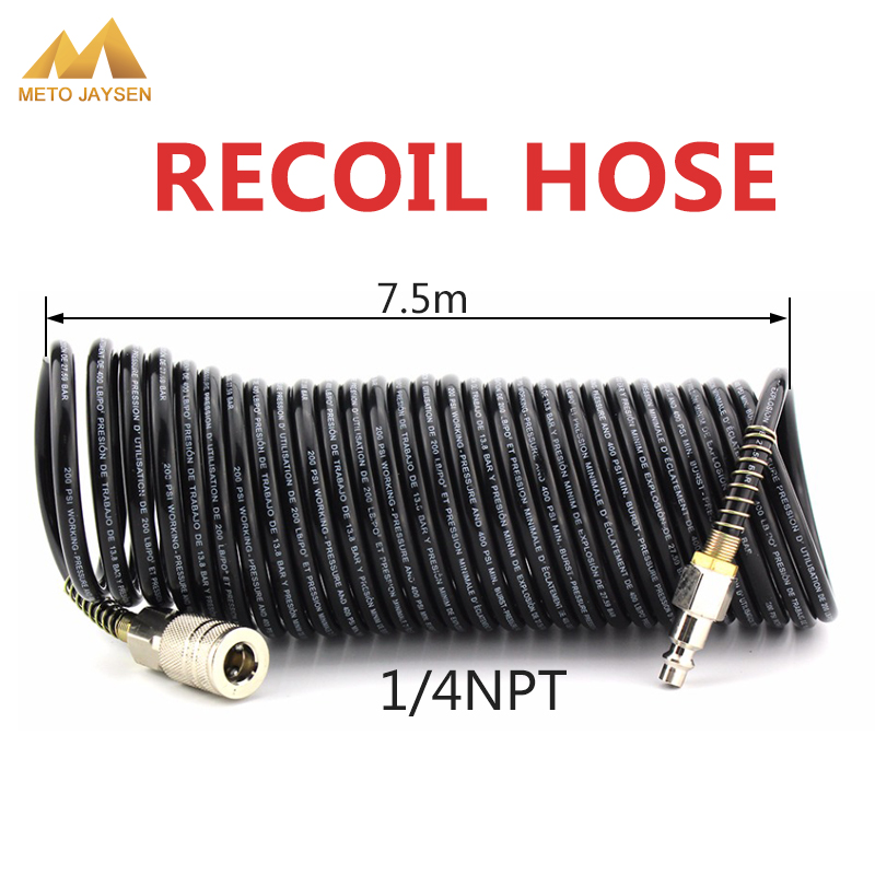 1/4 NPT Thread Recoil Hose 7M PE Pressure Hose Air Compressor Connector Male Female Quick Release Set Line Tube Coil Tools