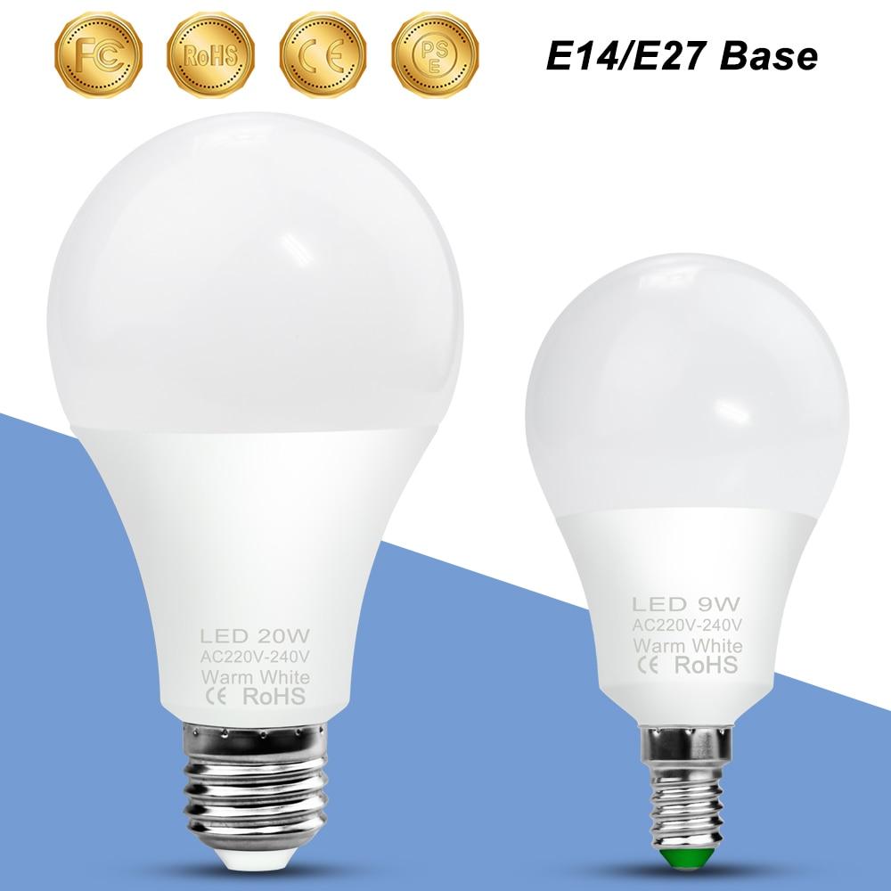 E14 LED Bulb Lamp E27 LED Light 220V Lampada Spotlight Table Lamp 3W 6W 9W 12W 15W 18W 20W Cold/Warm White Home Lighting 240V
