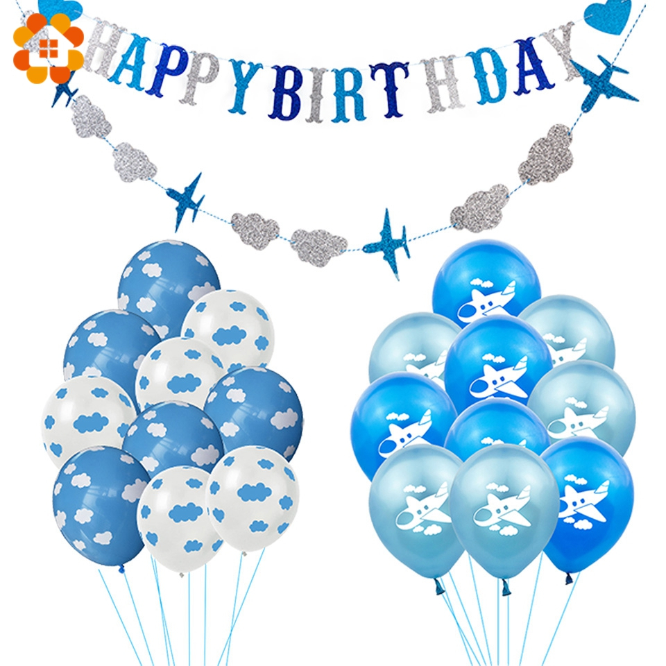 12 Inch Latex Balloon Birthday Party Decoration Kid Boy Blue White Cloud Balloon Birthday Airplane Banner Party Balloon 10pcs image