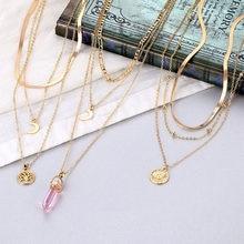 EN 2020 Punk Multi couche serrure chaîne colliers pour femmes or cristal perle papillon pendentif collier mode déclaration bijoux