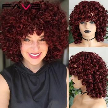 FAVE Afro peruka z kręconych włosów typu Kinky z Bangs czarne czerwone włosy syntetyczne ramię LengthHeat włókno odporne na afryka ameryka czarne kobiety tanie i dobre opinie Wysokiej Temperatury Włókna Średni Codziennego użytku CN (pochodzenie) Perwersyjne kręcone 1 sztuka tylko Średnia wielkość