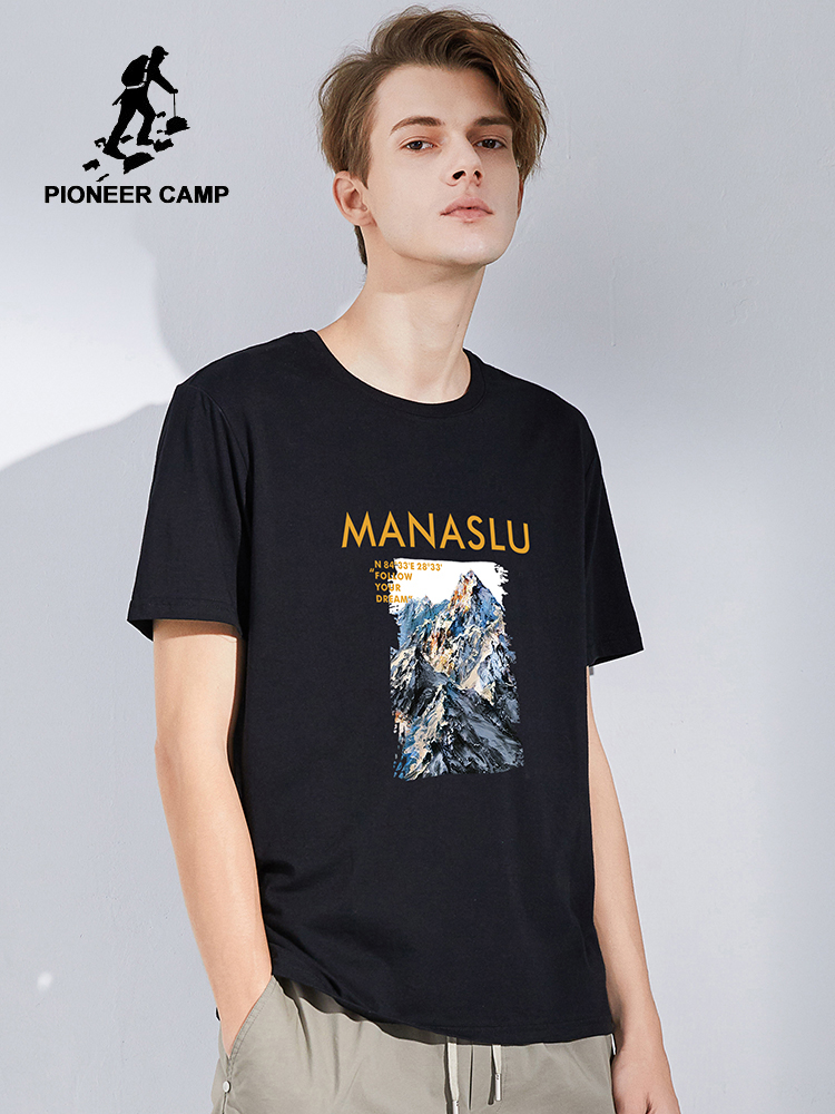 Pioneer Camp Mountain Printed T-shirts Men 100% Cotton Summer Fashion Black Color Hip HOP Mens Top Tees ADT0206023H