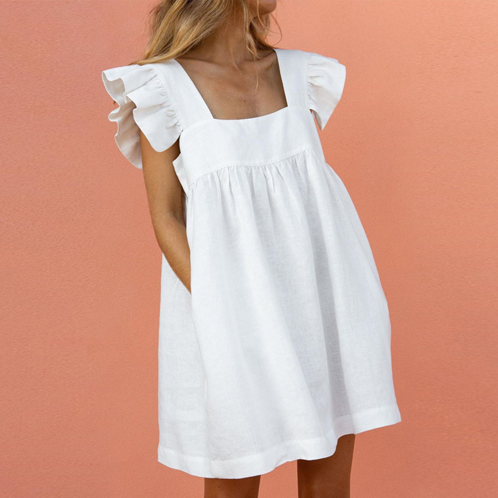 платье 2021 Women Elegant Butterfly Sleeve Ruffles Dress  Summer Casual loose pocket A-Line party Dresses mini Dress