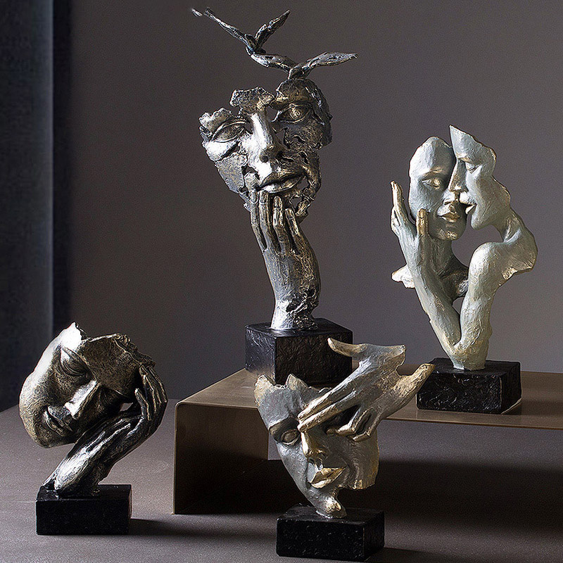Nordic Modern Simplicity Abstract Character Face Figurines Decoration Living Room Retro Home Decoration Antique Home Decor