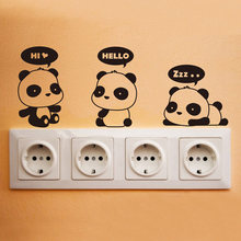 Enchufe bebé CASA INFANTIL pegatina Panda alrededor de luz interruptor recordatorio Decoración(China)