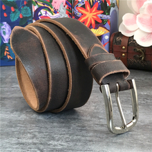 Vintage Men's Belt Metal Pin Belt Buckle Genuine Leather