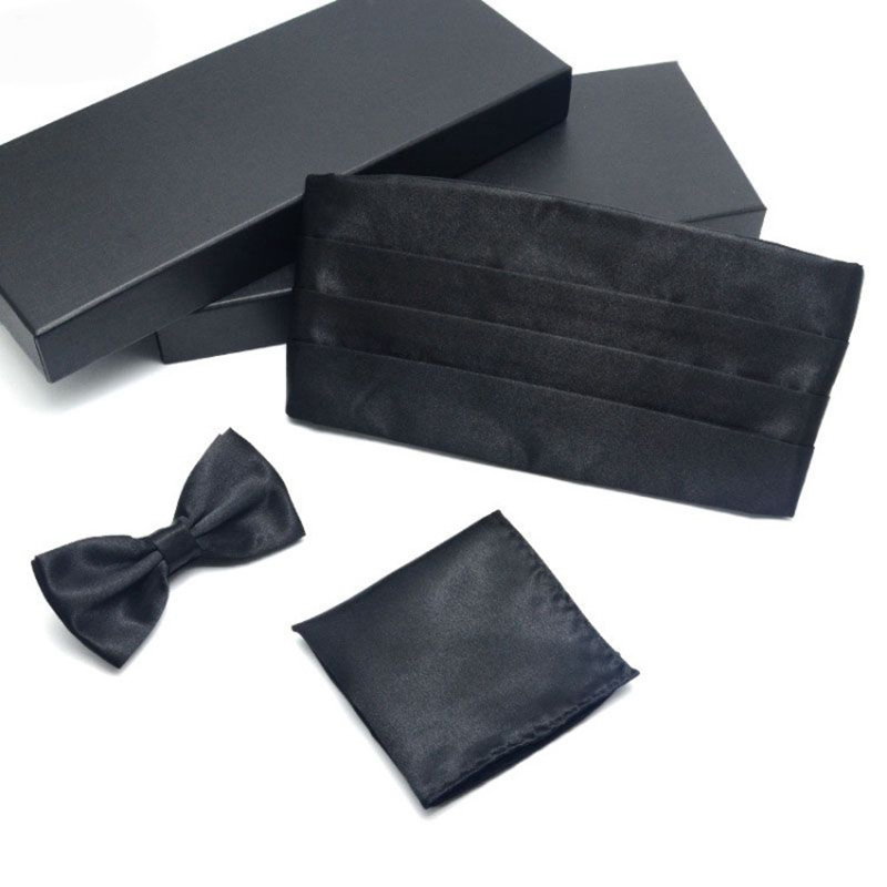 Mens Cummerbund Sets Pocket Square Hanky Black Bow Tie Tuxedo Wedding Mens Formal Noeud Papillon Sash Wide Belts Ceremonial Belt