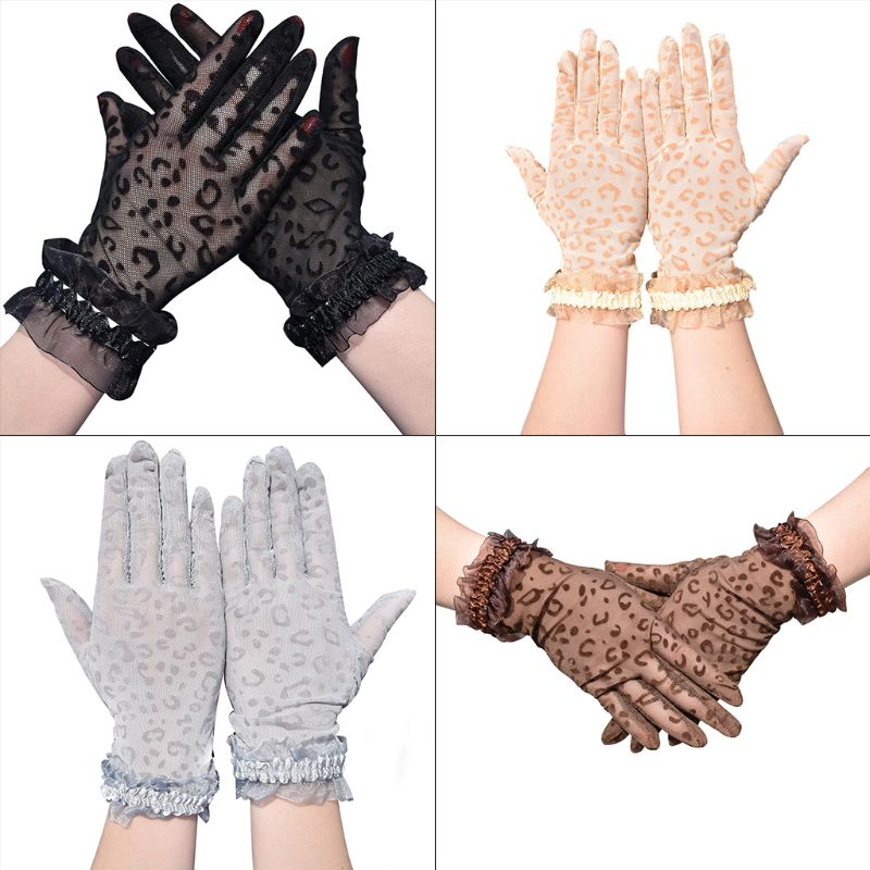 Women Summer Mesh Fishnet Leopard Short Gloves Shiny Ruffles Trim Wrist Length Anti-UV Sunscreen Driving Full Finger Mittens