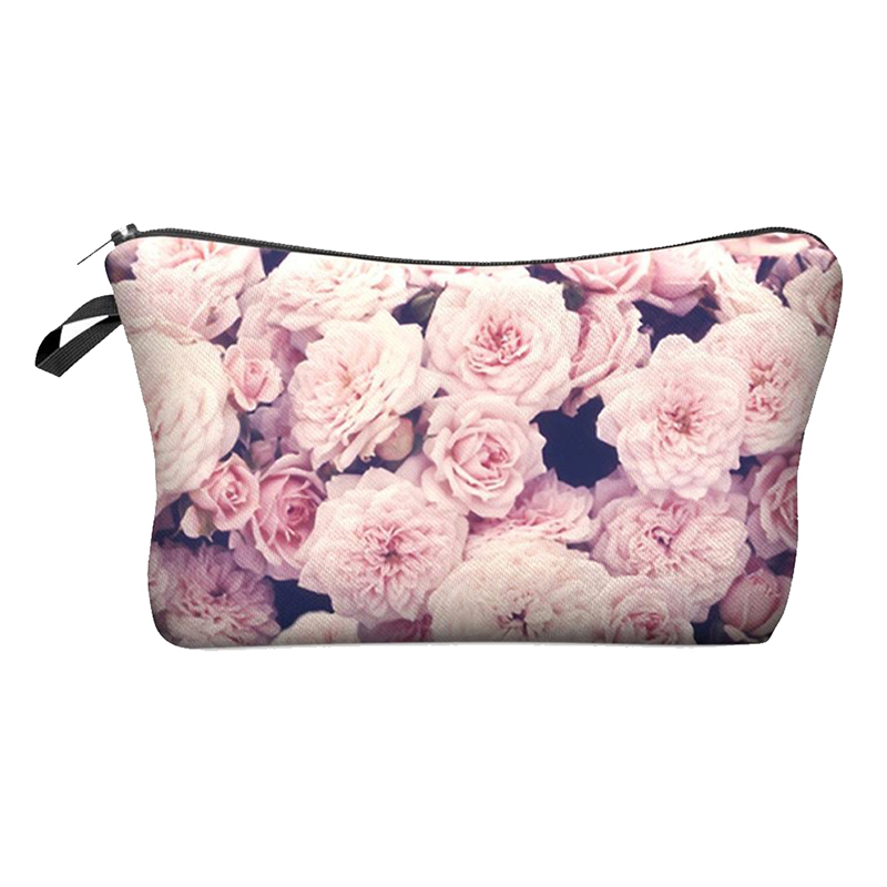 Cute Pattern Pouch Travel Case Cosmetic Makeup Bag (Pink Roses)