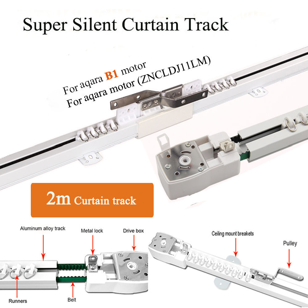 2m Customizable Smart Home Super Silent Electric Curtain Track For Aaqra B1 Motor, Aqara Motor And DOOYA DT82/KT82/KT32 Motor