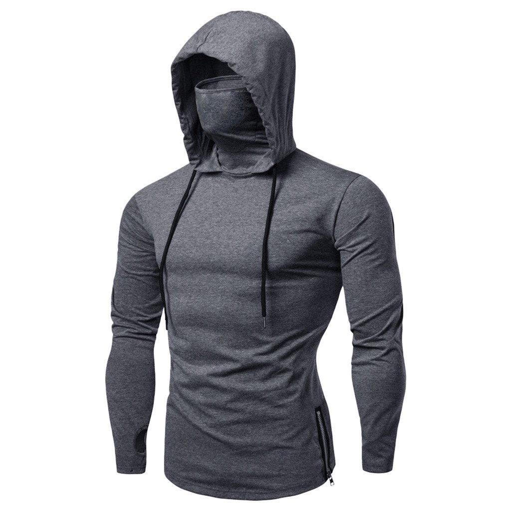 Pure color slim Mens Hoodies Mask Button Sports Hooded Splice Large Open-Forked Male Long Sleeve Shirts Pullovers Tops