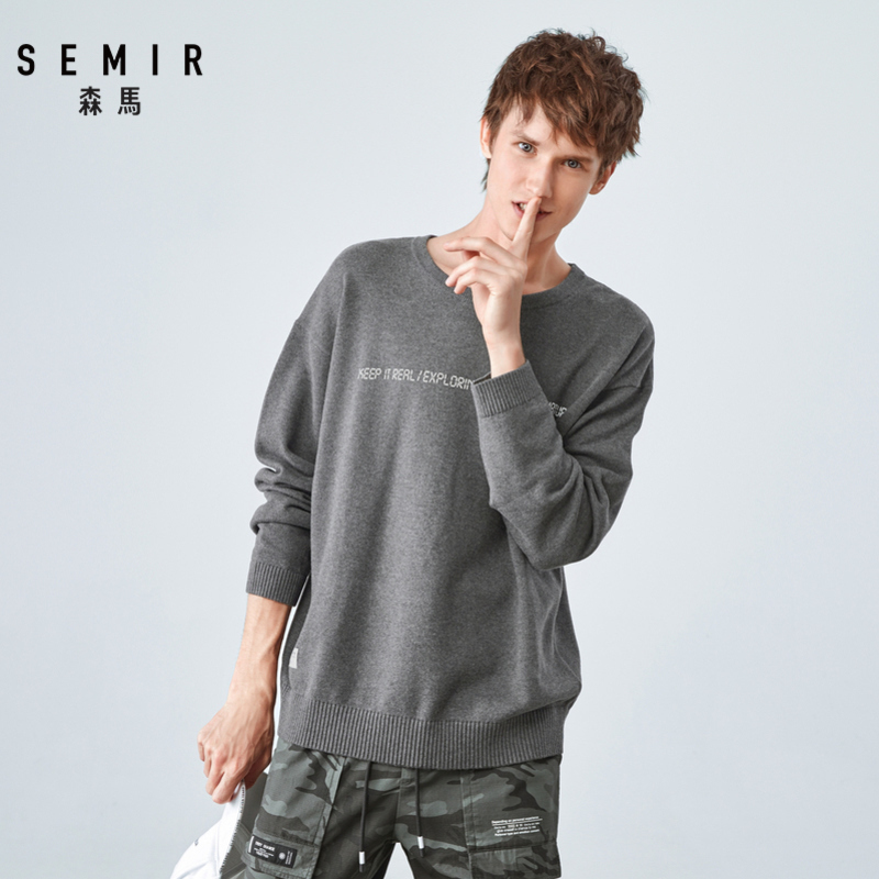 SEMIR Sweater Men 2019 Autumn New Loose Sweater Hit Color Printing Round Neck Pullover Trend Men's Sweater