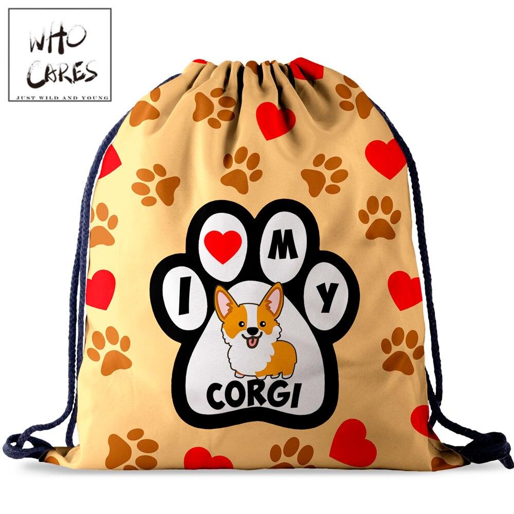 Who Cares Women Drawstring Bag Backpack Lazy Corgi 3D Printing Pouch Bag Girl Plecak Worek Fabric Pouch Beach