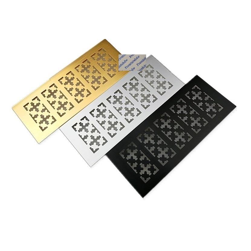 4Pcs/Lot 100mm Wide Rectangle Aluminum Alloy Air Vent Ventilator Grille Cover Louvre Furniture Cabinet Snow Shaped Golden Black