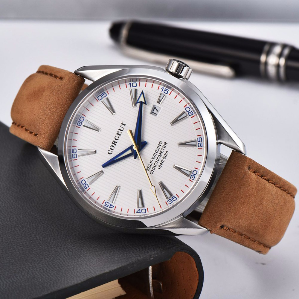 Corgeut 41mm Automatic Mechanical Mens Watch Leather Strap Luxury Brand Sapphire Luminous Waterproof Clock Casual Wristwatch Men 1