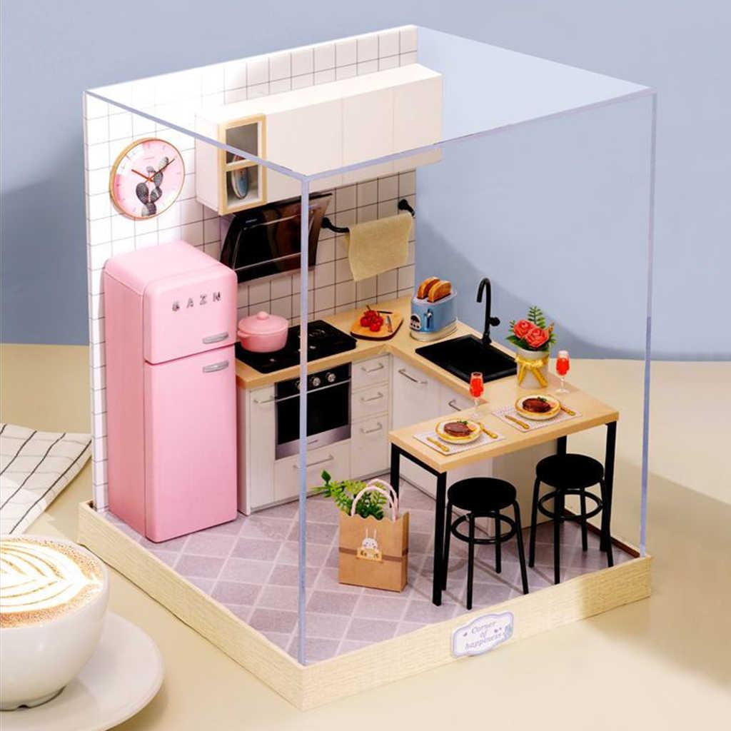 10/10 DIY Kabine Puppenhaus Handwerk Miniatur Küche Kit Spielzeug-Geschmack  des Lebens Puppenhaus Miniaturen Zubehör