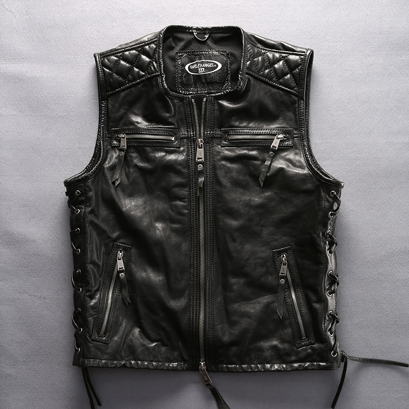 2020 Men's O-neck Genuine With Letter Embroidery Brand Sleeveless Motorcycle Leather Jacket Men Biker Vest Male