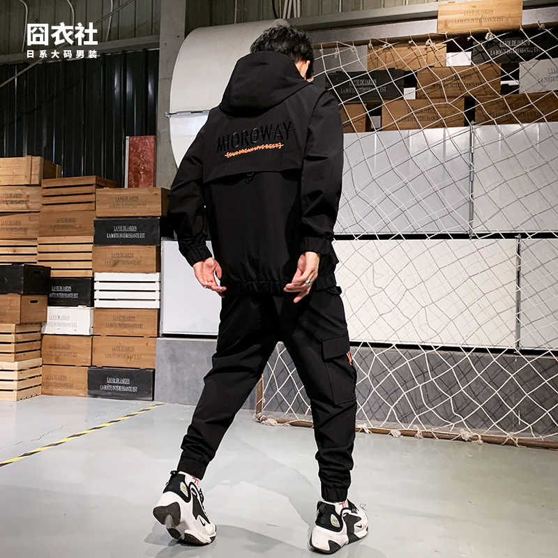 Hip Hop Militaire Trainingspak Mannen Pocket Loose Black Casual Jas Mannen Lange Mouw Streetwear Heren Kleding Set Grote Maat B60