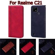 Capinha para realme c21 capa flip telefone protetor escudo suporte carteira de couro livro sobre para realme c 21 caso etui hoesje funda saco
