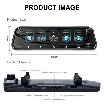 Phisung 4G ADAS Android Car DVR 10 Streaming RearView Mirror 1080P WiFi GPS Driving Recorder Registrar car Video DVRs image