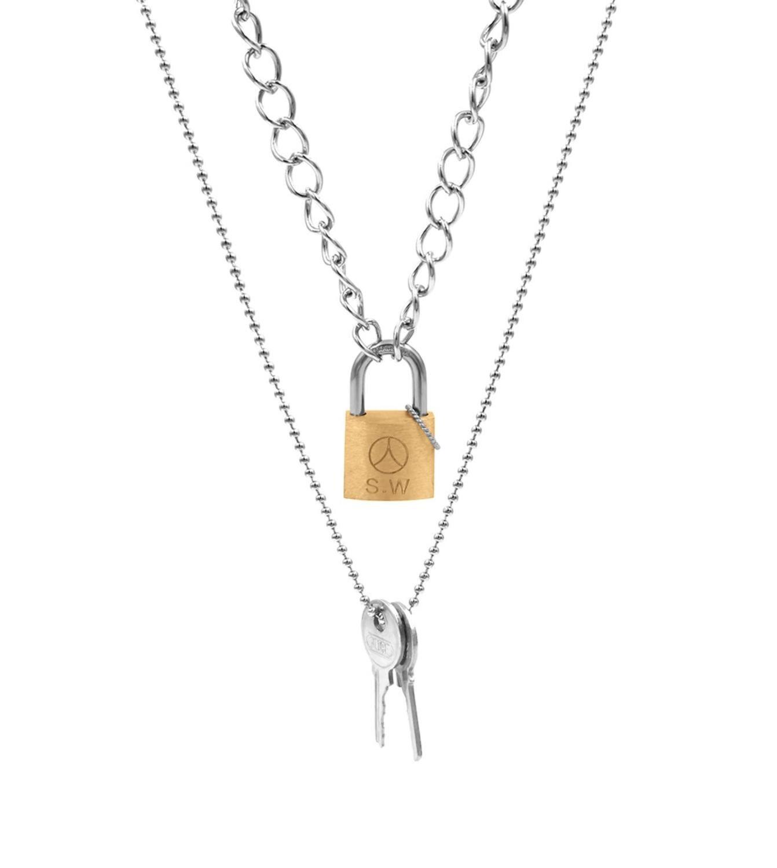 Déclaration INS Trendywoob Hip hop titane acier clé serrure pendentif collier longue chaîne Hip Hop bijoux Cool beau hommes femmes