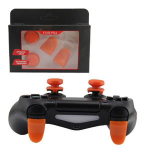 2PCS Not-Slip Silicone Joystick Thumbstick Grip High-Rise Cap Cover + 2PCS Trigger Extender for Sony PlayStation4 PS4 Controller