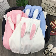 Women's Rabbit Ears Girls Long Sleeve Hoodie Sweatshirt Autumn Winter Cotton Hooded Jacket Cute Female Rabbit Hoodie(China)
