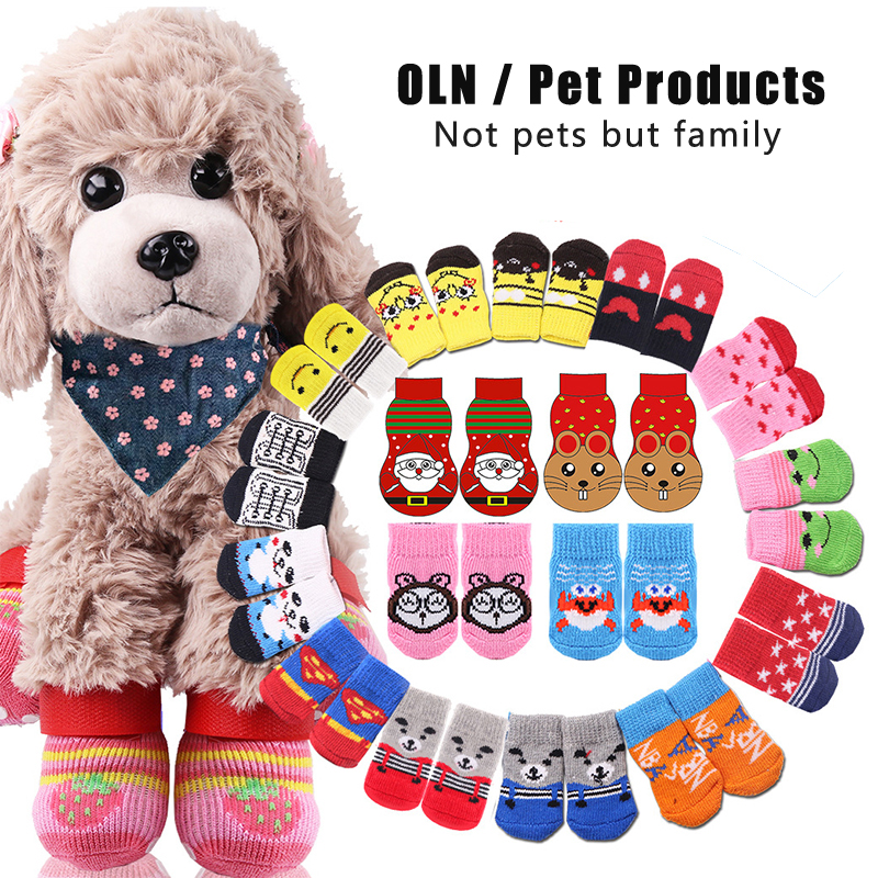 Dog Socks Cartoon Cute Pet Socks Non-slip Cat Socks Four Feet Christmas New Year Pet Supplies