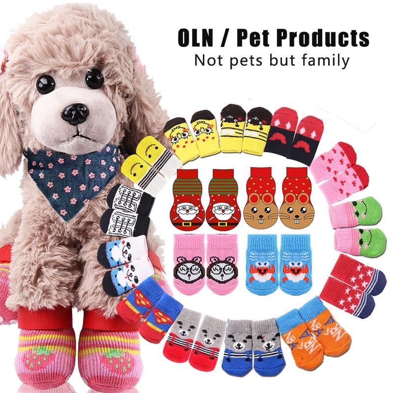 Dog Socks Cartoon Cute Pet Socks Non-slip Cat Socks Four Feet Christmas New Year Pet Supplies