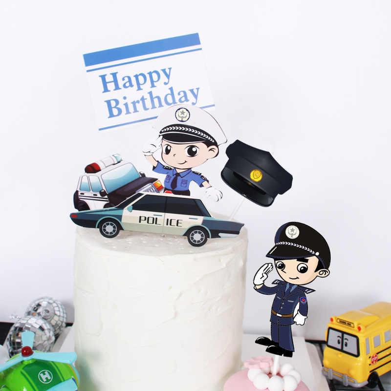 2020 6 Pçs/lote Sonho Da Polícia Carro Da Polícia Feliz Bolo De Aniversário Topper Topper Do Bolo de Aniversário para Crianças Festa de Aniversário Decorações Do Bolo