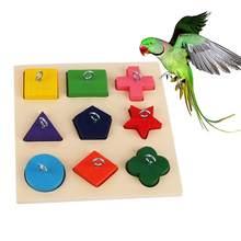 Animais de estimação pássaro papagaio 9 grades estrela triângulo blocos anel formação puzzle diy mastigar mordida puzzle jogar papagaio brinquedos acessórios