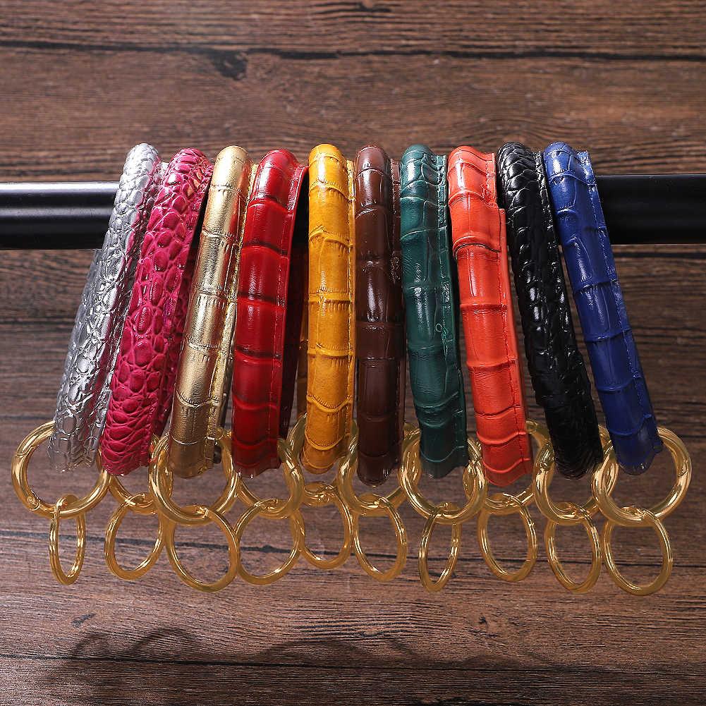 Vedawas 2019 mode rétro grand rond en cuir poignet porter porte-clés exagéré multicolore alliage léopard fleurs porte-clés unisexe