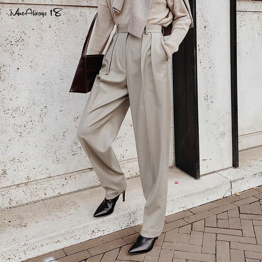 Mnealways18 Straight Vintage Pleated Office Pants Women High Waist Long Trousers Elegant 2020 Summer Pants Ankle-Length Trousers