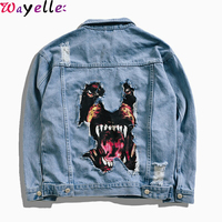 Mens Denim Jacket 2019 Autumn Winter New Funny Dog Printed Frayed Hole Hip Hop Jeans Jacket Men Oversized Streetwear for Couples