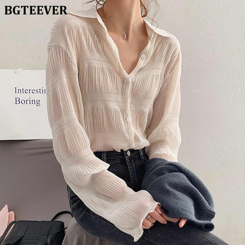 BGTEEVER Spring Vintage Women Chiffon Blouses OL Style Long Sleeve Loose Blusas Femme 2020 Turn-down Collar Female Shirts Tops