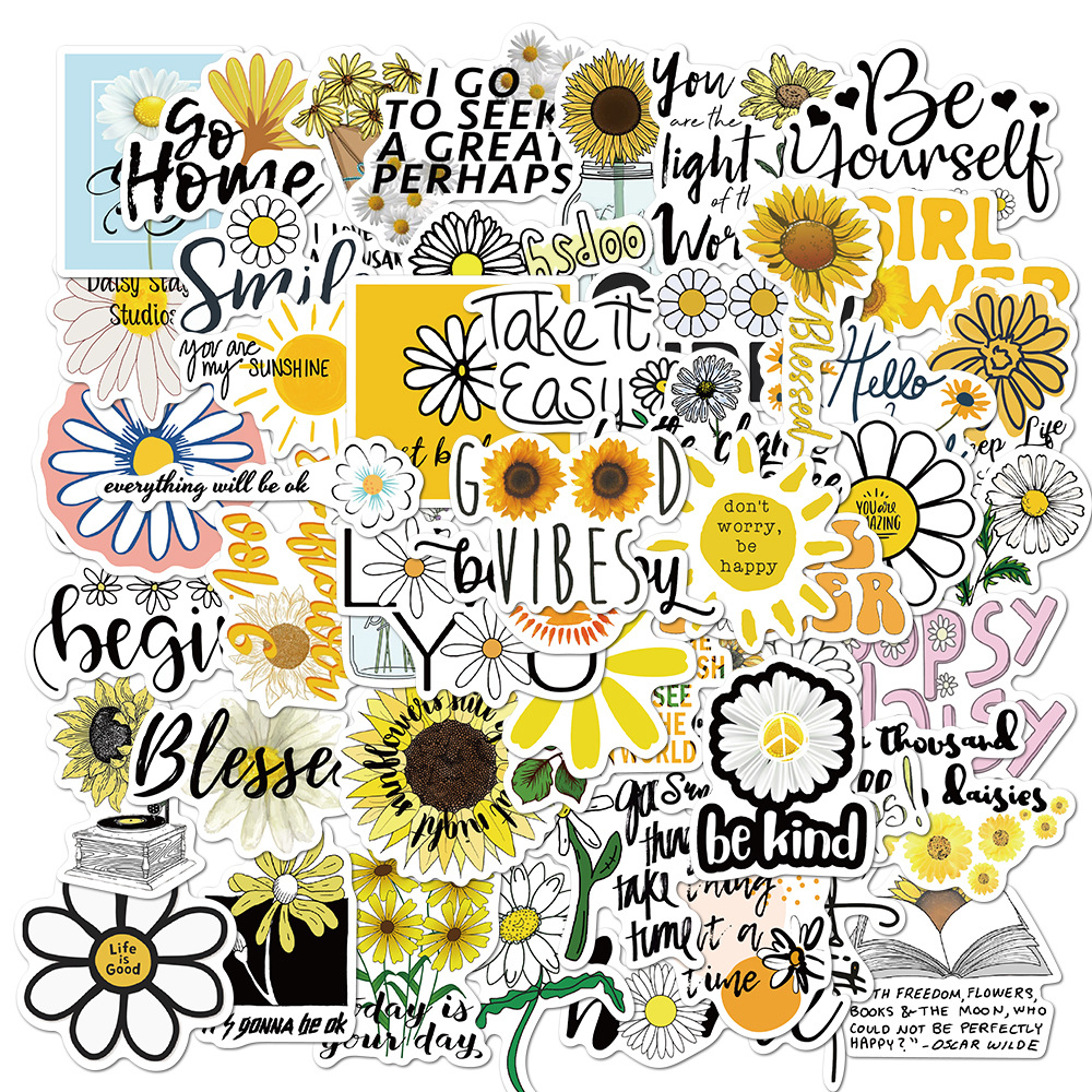 50 шт. цветы ромашки граффити Стикеры s вдохновляющие цитаты наклейки для Скрапбукинг телефон чемодан велосипед гитарная Наклейка Детские и...