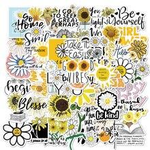 50 pçs flores margaridas graffiti adesivos citações inspiradoras decalques para scrapbooking telefone mala de bicicleta guitarra etiqueta do miúdo brinquedos
