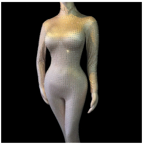 Sexy Skinny Crystals Mesh Bodysuit Bling Rhinestones Jumpsuit Lady Singer Dancer Luxury Costume Party Celebration DS Stage Wear