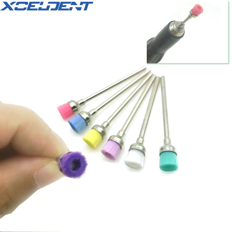 7pcs Dental Colorful Bowl Polisher Brush Dental Nail Art Drill Bit Cleaning Brushes Manicure Accessories Dentistry Material