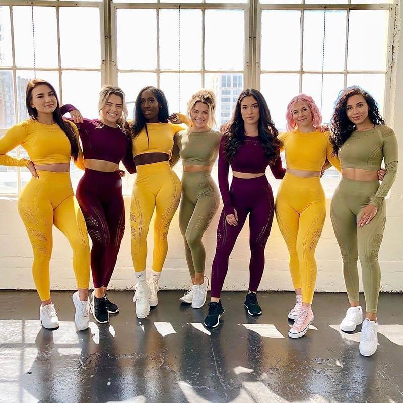 Женский спортивный костюм, бесшовная одежда для спортзала, Женский комплект для занятий йогой, фитнесом, леггинсы + укороченные рубашки