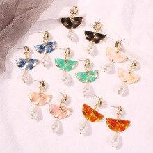 Oorbellen Tassel Earrings Earings Sell Like Hot Cakes On The New Candy Color Drip Oil Fan Geometry Form Pearl Pendant