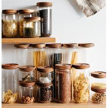Glass Food Storage Container/Canisters with Airtight Wooden Lid for Preserving Kitchen Tea Coffee Sugar Storage Jars coffee bean tea glass bottle storage tank storage jars food container storage glass jars with lid container jars for spices