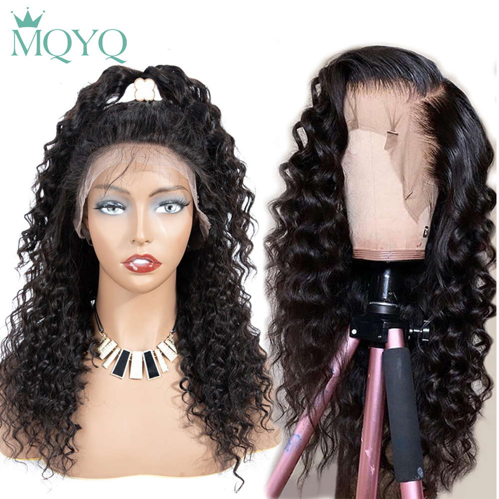 MQYQ 360 Deep Wave Lace Front Wigs Hair Human Hair For Women Black Brazilian Non-Remy Lace Frontal Hair Wigs Natural Color