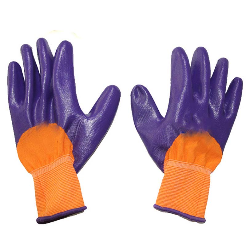 Nylon PU Fingering Gloves Dip Finger Slip Resistant Wear Protective Work Gloves